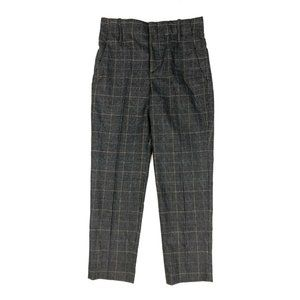 Zara Gray Plaid High Rise Tapered Ankle Crop Pants